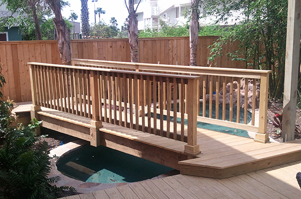 Outdoor Deck with Bridge in Corpus Christi, Texas.