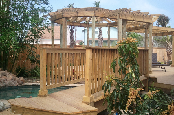 Outdoor deck with Pergola in Corpus Cristi, TX
