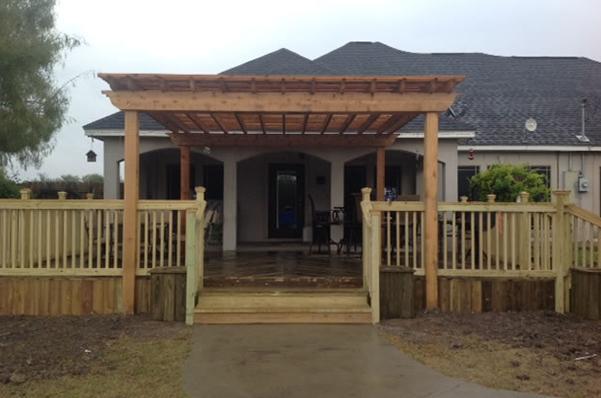 Wooden pergola and patio