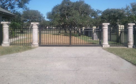 Outdoor ornamental iron fence