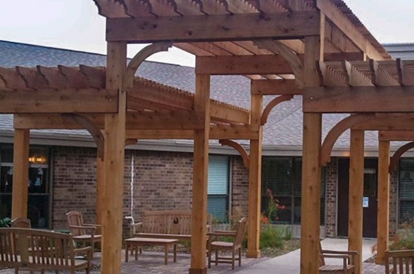 Wooden pergola and patio